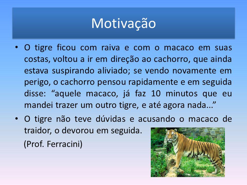 Motivação O tigre ficou com raiva e com o macaco em suas costas, voltou a ir em direção ao cachorro, que ainda estava suspirando aliviado; se vendo no