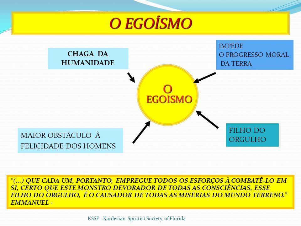 O EGOISMO EGOISMO MAIOR OBSTÁCULO À FELICIDADE DOS HOMENS IMPEDE O PROGRESSO MORAL DA TERRA O EGOÍSMO (...) QUE CADA UM, PORTANTO, EMPREGUE TODOS OS ESFORÇOS À COMBATÊ-LO EM SI, CERTO QUE ESTE MONSTRO DEVORADOR DE TODAS AS CONSCIÊNCIAS, ESSE FILHO DO ORGULHO, É O CAUSADOR DE TODAS AS MISÉRIAS DO MUNDO TERRENO. EMMANUEL - 7 CHAGA DA HUMANIDADE FILHO DO ORGULHO KSSF - Kardecian Spiritist Society of Florida