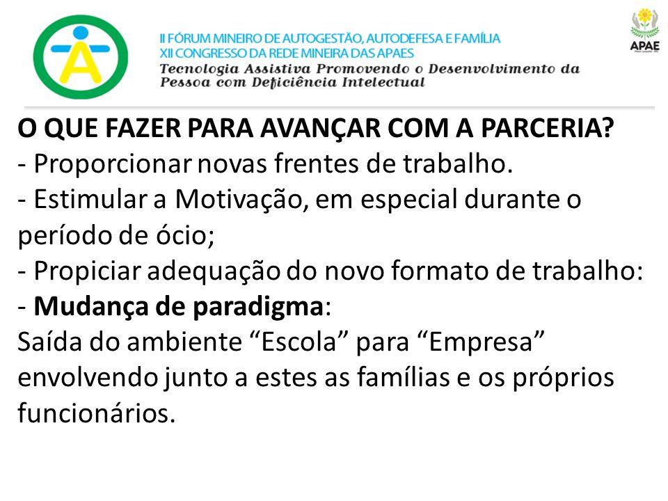O QUE FAZER PARA AVANÇAR COM A PARCERIA.- Proporcionar novas frentes de trabalho.