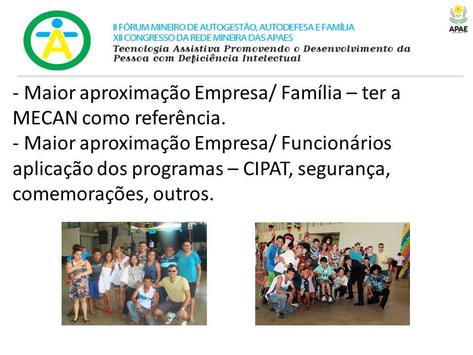 - Maior aproximação Empresa/ Família – ter a MECAN como referência. - Maior aproximação Empresa/ Funcionários aplicação dos programas – CIPAT, seguran