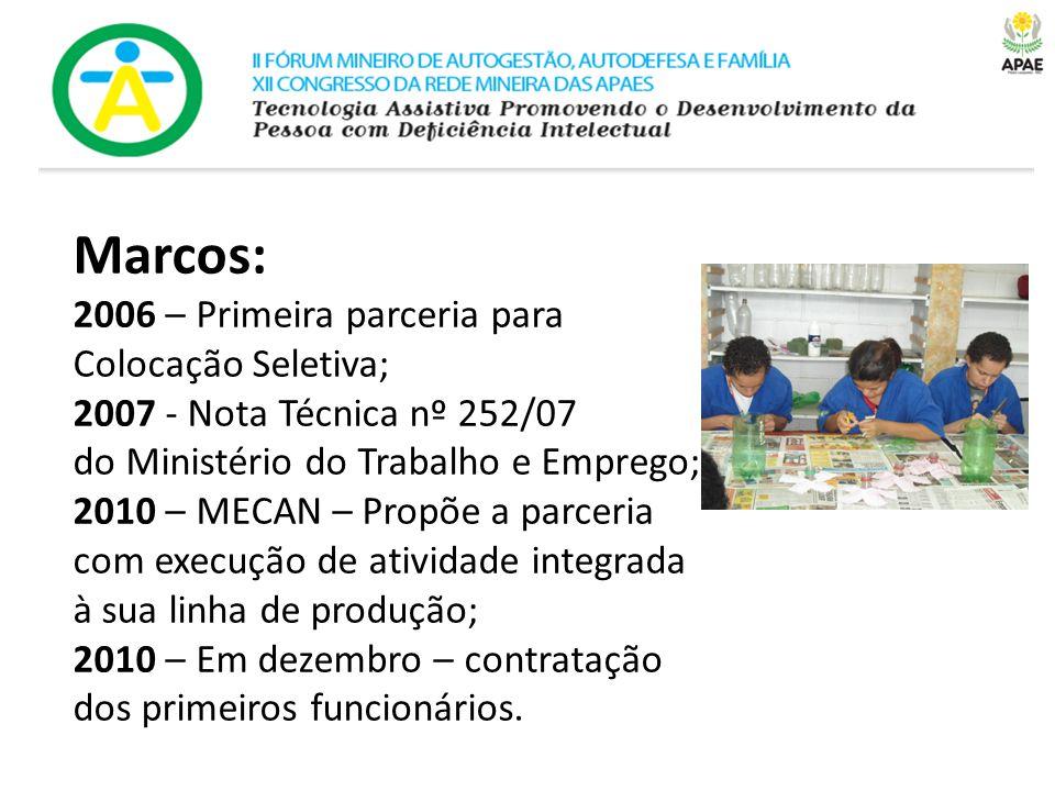 Marcos: 2006 – Primeira parceria para Colocação Seletiva; 2007 - Nota Técnica nº 252/07 do Ministério do Trabalho e Emprego; 2010 – MECAN – Propõe a p