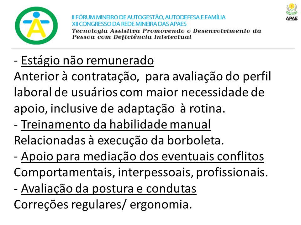 - Estágio não remunerado Anterior à contratação, para avaliação do perfil laboral de usuários com maior necessidade de apoio, inclusive de adaptação à rotina.