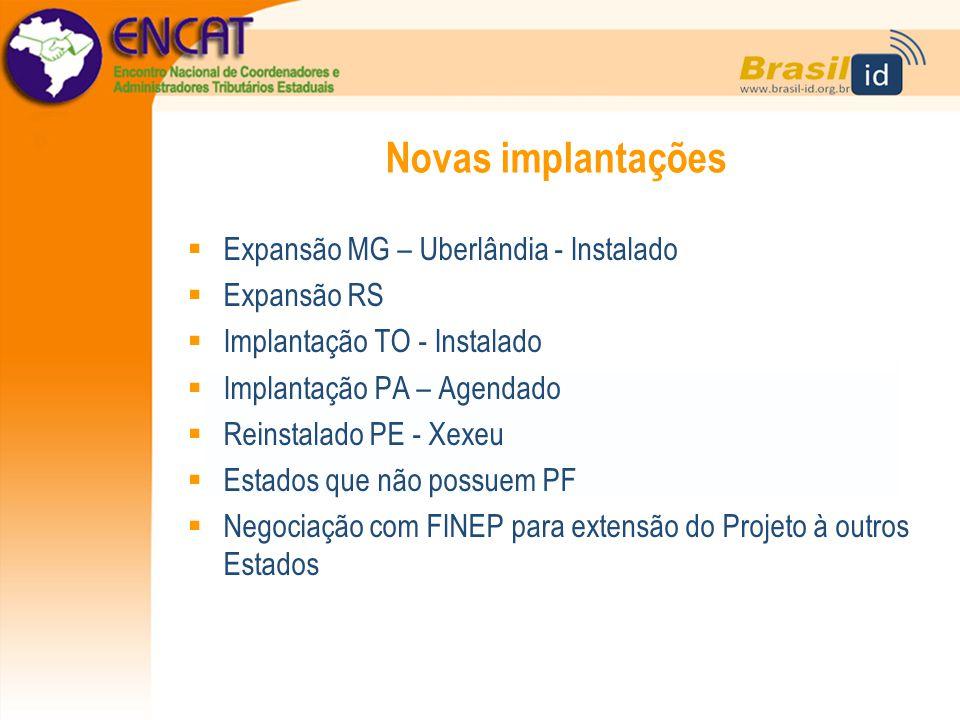 Novas implantações  Expansão MG – Uberlândia - Instalado  Expansão RS  Implantação TO - Instalado  Implantação PA – Agendado  Reinstalado PE - Xe