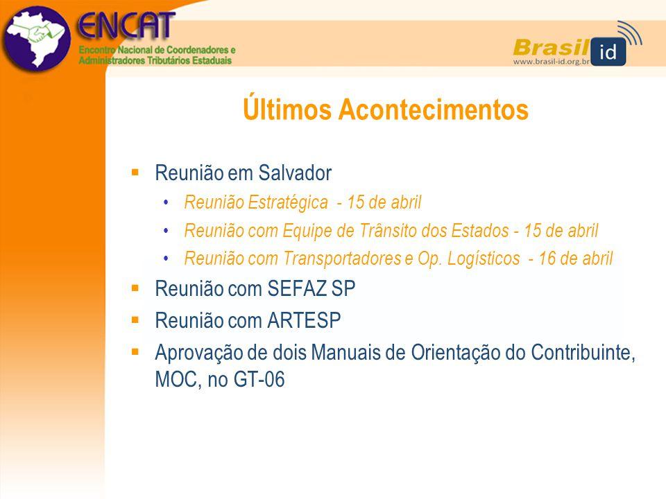 Últimos Acontecimentos  Reunião em Salvador Reunião Estratégica - 15 de abril Reunião com Equipe de Trânsito dos Estados - 15 de abril Reunião com Tr
