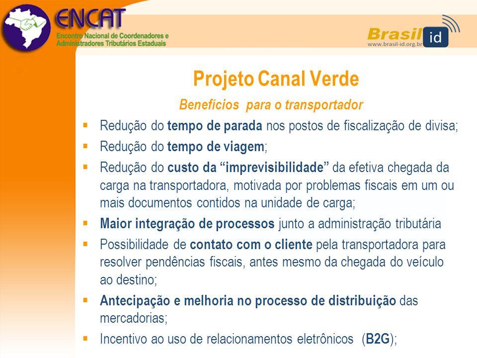 Projeto Canal Verde Benefícios para o transportador  Redução do tempo de parada nos postos de fiscalização de divisa;  Redução do tempo de viagem ;