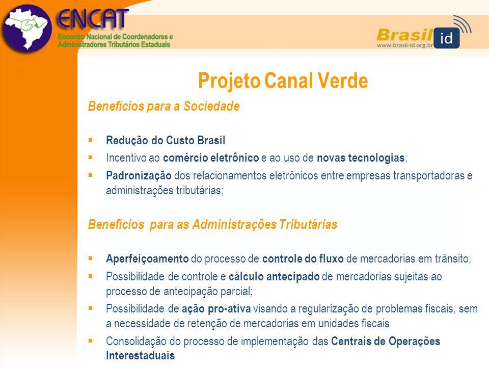 Projeto Canal Verde Benefícios para a Sociedade  Redução do Custo Brasil  Incentivo ao comércio eletrônico e ao uso de novas tecnologias ;  Padroni