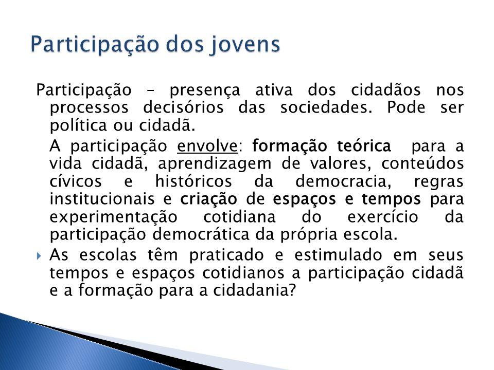 Participação – presença ativa dos cidadãos nos processos decisórios das sociedades.