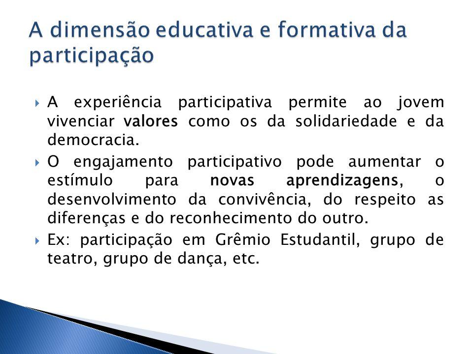  A experiência participativa permite ao jovem vivenciar valores como os da solidariedade e da democracia.