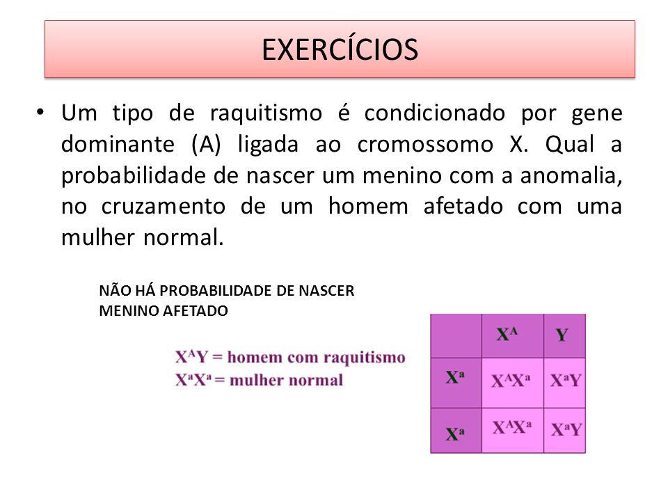 EXERCÍCIOS Um tipo de raquitismo é condicionado por gene dominante (A) ligada ao cromossomo X. Qual a probabilidade de nascer um menino com a anomalia