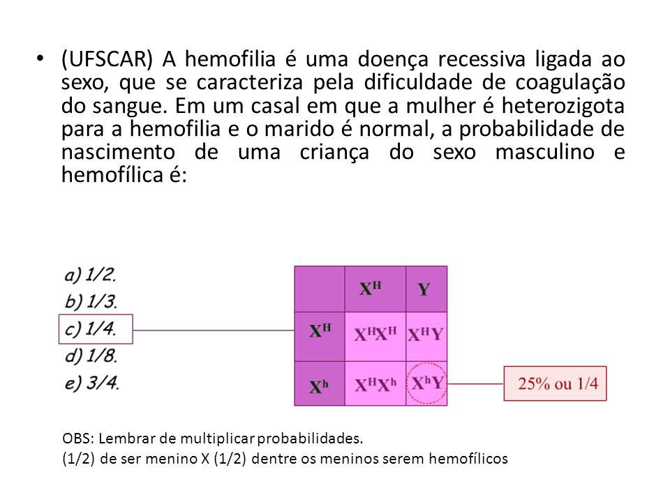 (UFSCAR) A hemofilia é uma doença recessiva ligada ao sexo, que se caracteriza pela dificuldade de coagulação do sangue. Em um casal em que a mulher é