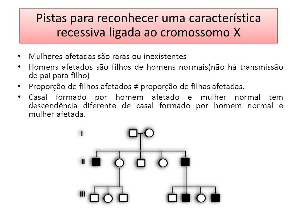 EXERCÍCIOS Pistas para reconhecer uma característica recessiva ligada ao cromossomo X Mulheres afetadas são raras ou inexistentes Homens afetados são