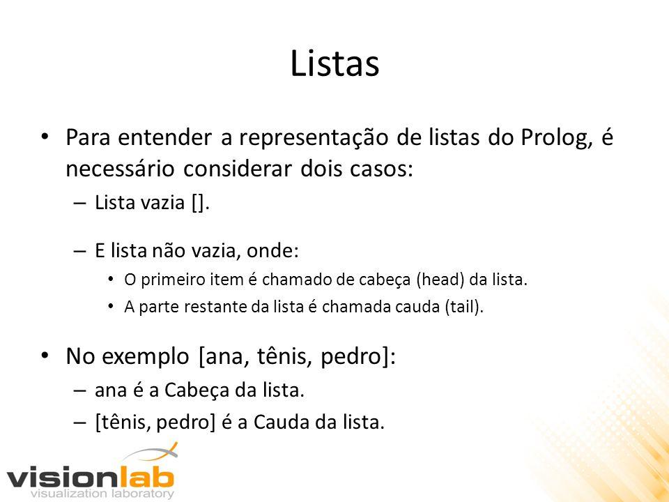 Listas Para entender a representação de listas do Prolog, é necessário considerar dois casos: – Lista vazia [].