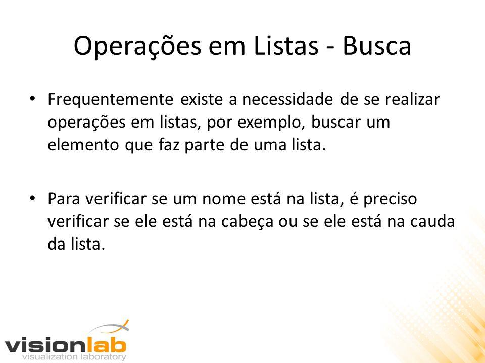 Operações em Listas - Busca Frequentemente existe a necessidade de se realizar operações em listas, por exemplo, buscar um elemento que faz parte de u