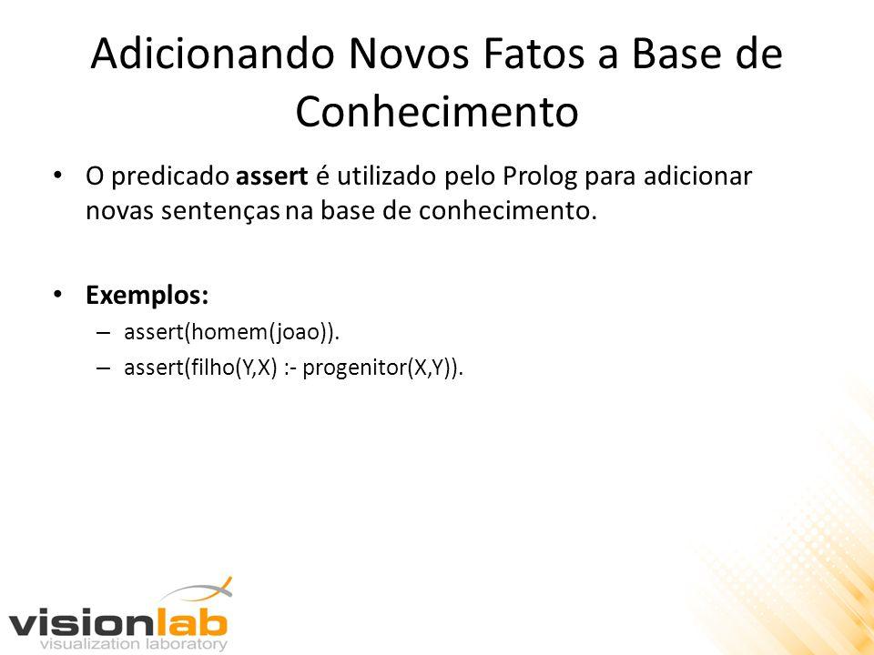 Adicionando Novos Fatos a Base de Conhecimento O predicado assert é utilizado pelo Prolog para adicionar novas sentenças na base de conhecimento. Exem