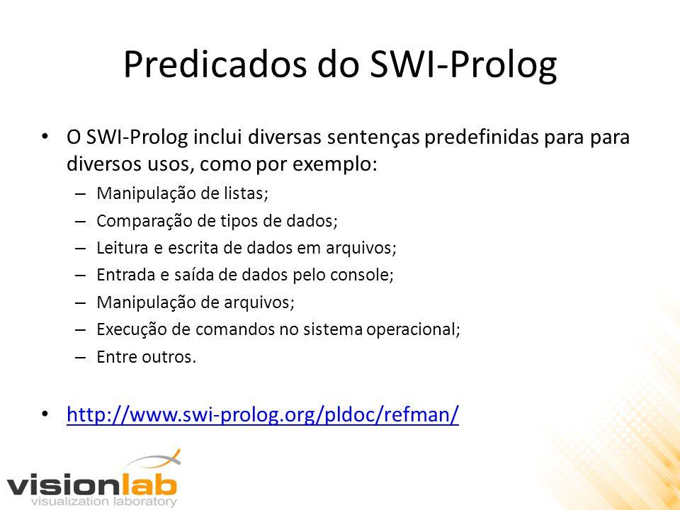 Predicados do SWI-Prolog O SWI-Prolog inclui diversas sentenças predefinidas para para diversos usos, como por exemplo: – Manipulação de listas; – Comparação de tipos de dados; – Leitura e escrita de dados em arquivos; – Entrada e saída de dados pelo console; – Manipulação de arquivos; – Execução de comandos no sistema operacional; – Entre outros.