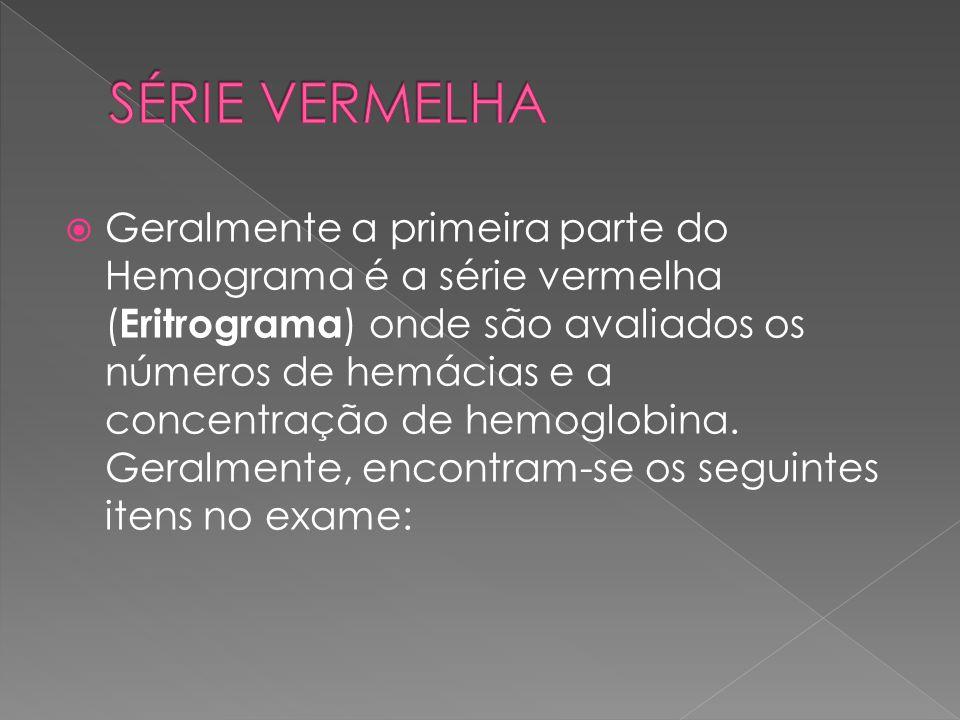  Geralmente a primeira parte do Hemograma é a série vermelha ( Eritrograma ) onde são avaliados os números de hemácias e a concentração de hemoglobin