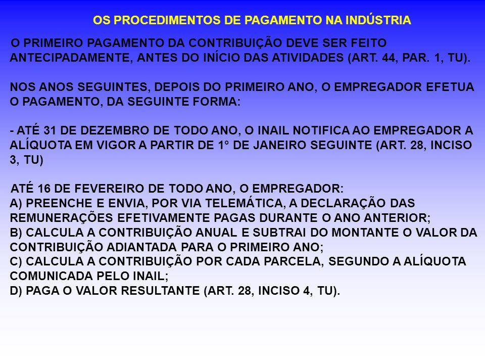 OS PROCEDIMENTOS DE PAGAMENTO NA INDÚSTRIA O PRIMEIRO PAGAMENTO DA CONTRIBUIÇÃO DEVE SER FEITO ANTECIPADAMENTE, ANTES DO INÍCIO DAS ATIVIDADES (ART. 4