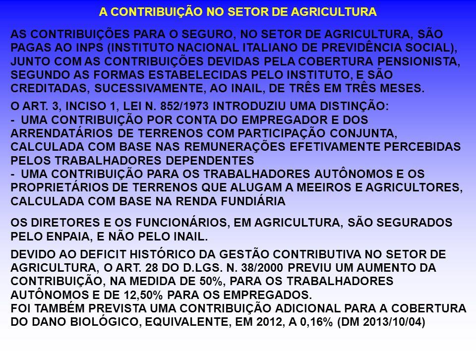 A CONTRIBUIÇÃO NO SETOR DE AGRICULTURA AS CONTRIBUIÇÕES PARA O SEGURO, NO SETOR DE AGRICULTURA, SÃO PAGAS AO INPS (INSTITUTO NACIONAL ITALIANO DE PREV