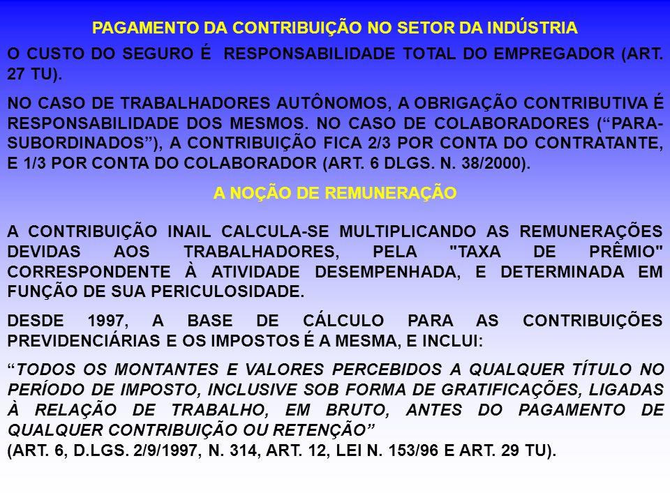 PAGAMENTO DA CONTRIBUIÇÃO NO SETOR DA INDÚSTRIA O CUSTO DO SEGURO É RESPONSABILIDADE TOTAL DO EMPREGADOR (ART. 27 TU). NO CASO DE TRABALHADORES AUTÔNO