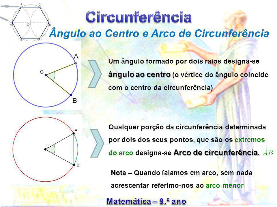 Ângulo ao Centro e Arco de Circunferência Um ângulo formado por dois raios designa-se ângulo ao centro (o vértice do ângulo coincide com o centro da c