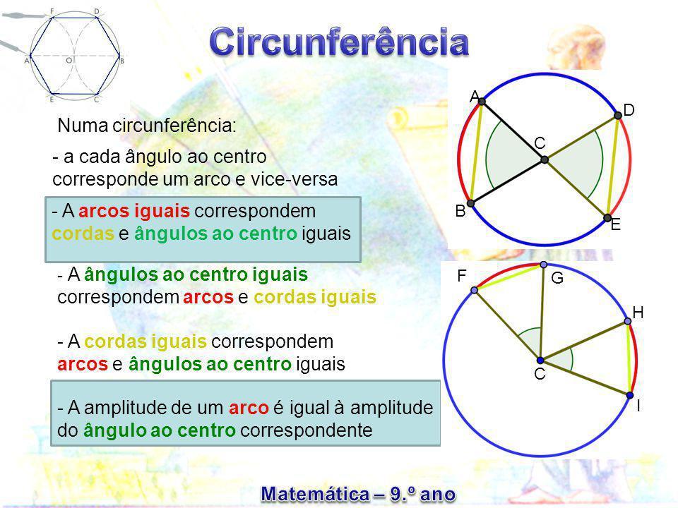 - a cada ângulo ao centro corresponde um arco e vice-versa Numa circunferência: - A arcos iguais correspondem cordas e ângulos ao centro iguais - A ân