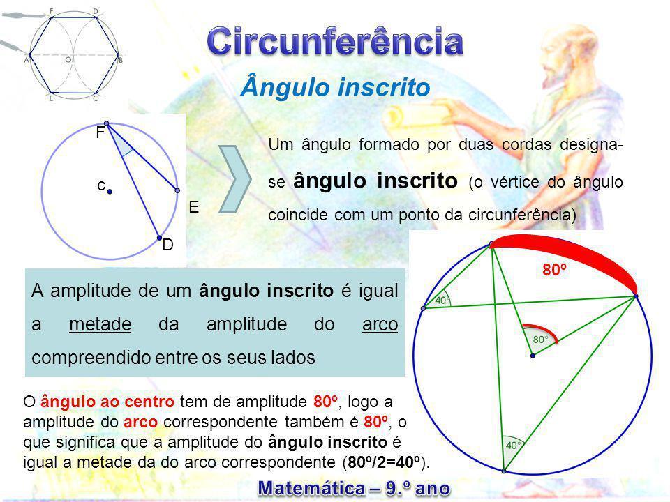 Ângulo inscrito Um ângulo formado por duas cordas designa- se ângulo inscrito (o vértice do ângulo coincide com um ponto da circunferência) E c F D A