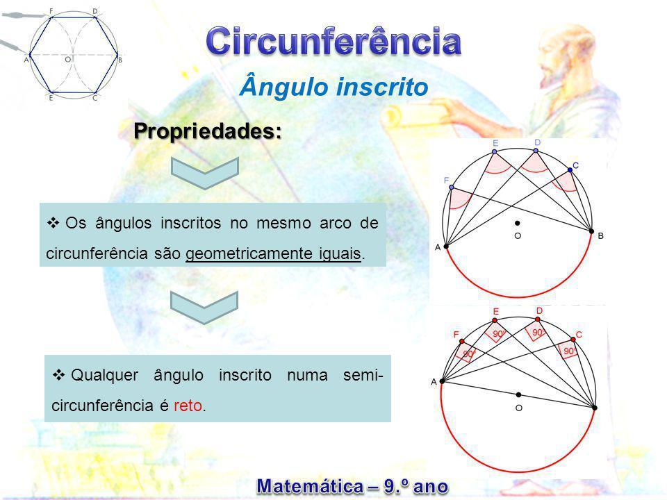 Ângulo inscrito Propriedades:  Os ângulos inscritos no mesmo arco de circunferência são geometricamente iguais.  Qualquer ângulo inscrito numa semi-