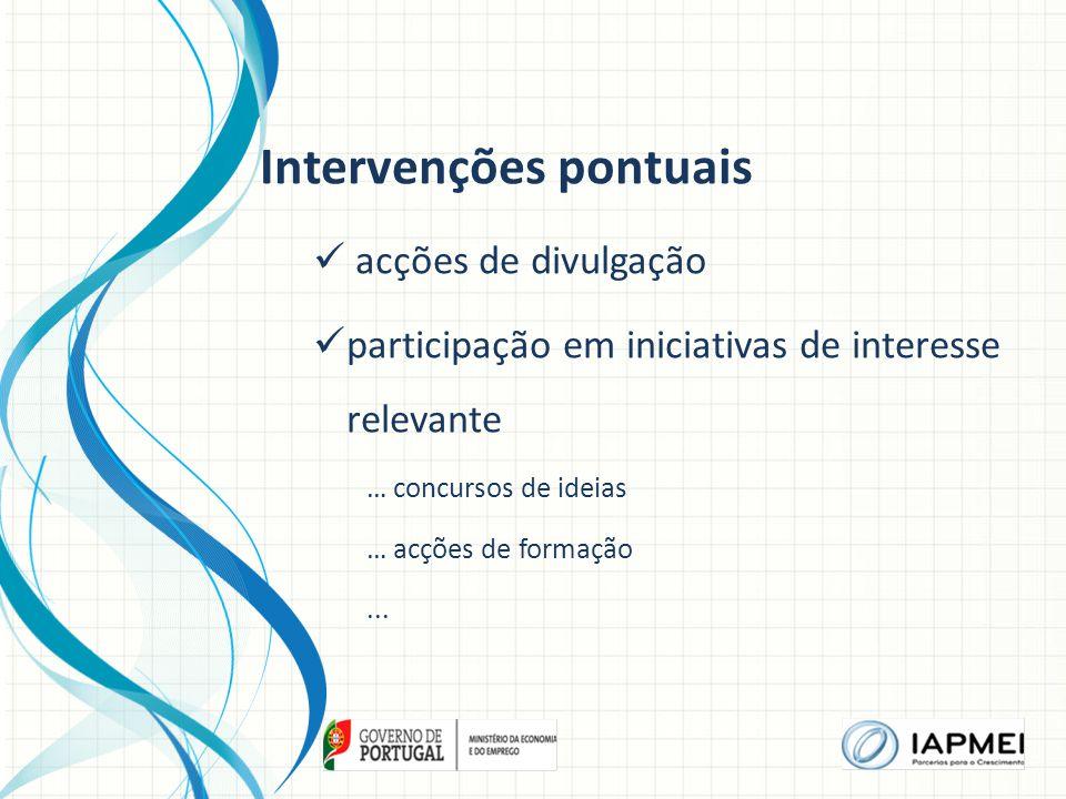 Intervenções pontuais acções de divulgação participação em iniciativas de interesse relevante … concursos de ideias … acções de formação...