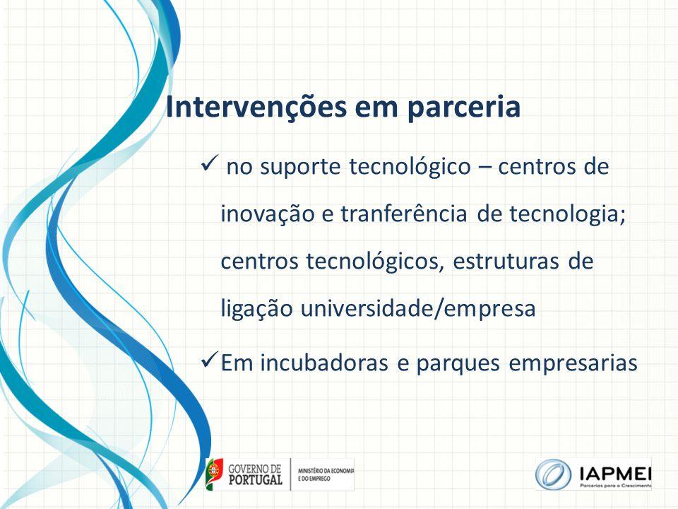 Intervenções em parceria no suporte tecnológico – centros de inovação e tranferência de tecnologia; centros tecnológicos, estruturas de ligação universidade/empresa Em incubadoras e parques empresarias