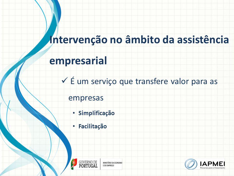 Intervenção no âmbito da assistência empresarial É um serviço que transfere valor para as empresas Simplificação Facilitação