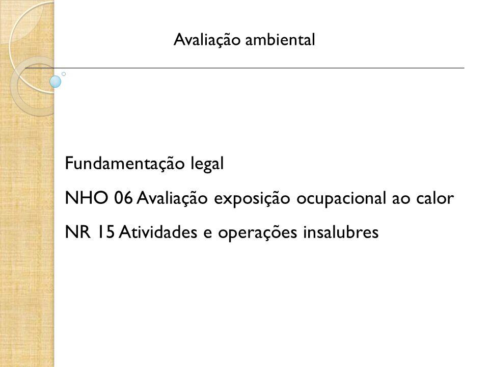 Avaliação ambiental Fundamentação legal NHO 06 Avaliação exposição ocupacional ao calor NR 15 Atividades e operações insalubres