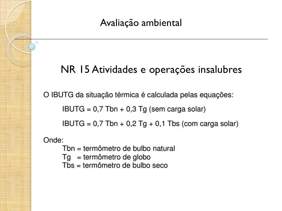 Avaliação ambiental NR 15 Atividades e operações insalubres