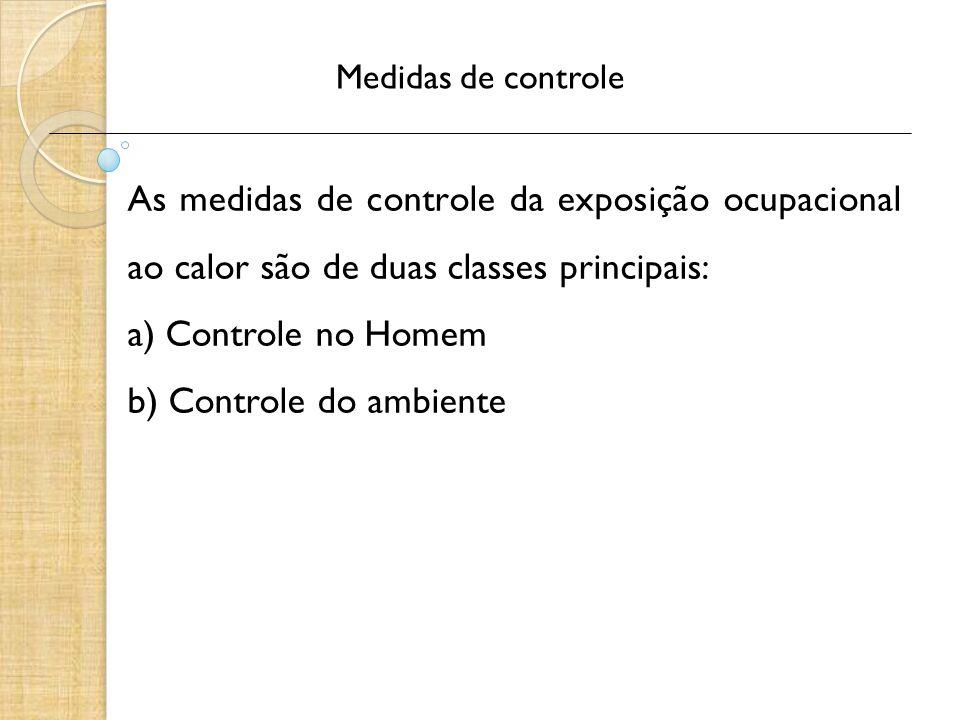Medidas de controle As medidas de controle da exposição ocupacional ao calor são de duas classes principais: a) Controle no Homem b) Controle do ambie