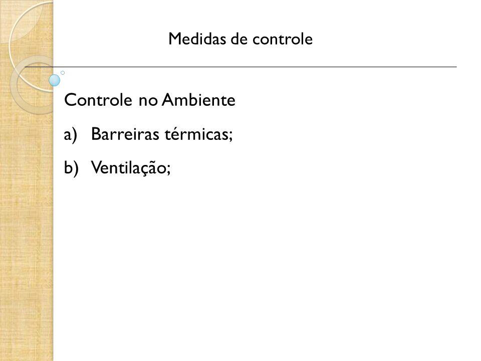 Medidas de controle Controle no Ambiente a)Barreiras térmicas; b)Ventilação;