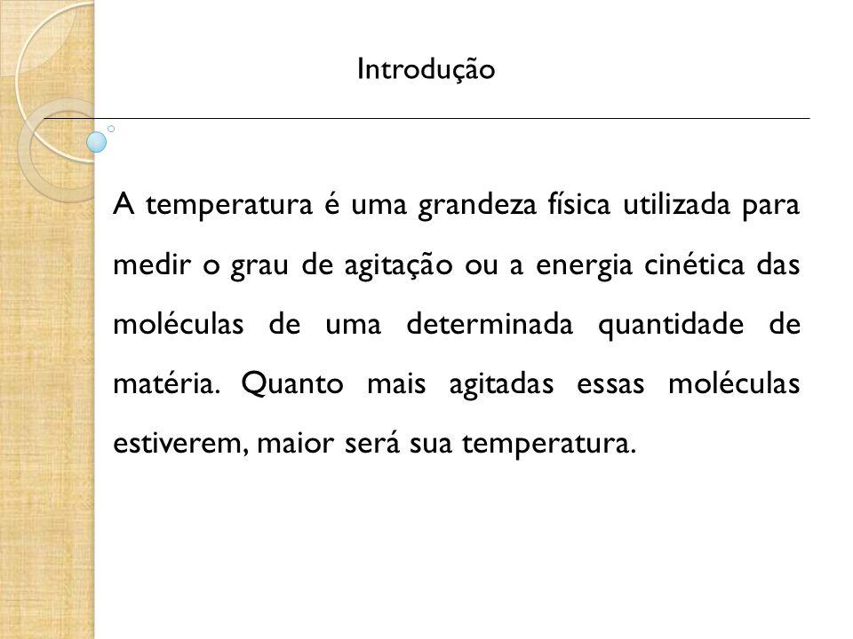 Introdução A temperatura é uma grandeza física utilizada para medir o grau de agitação ou a energia cinética das moléculas de uma determinada quantida