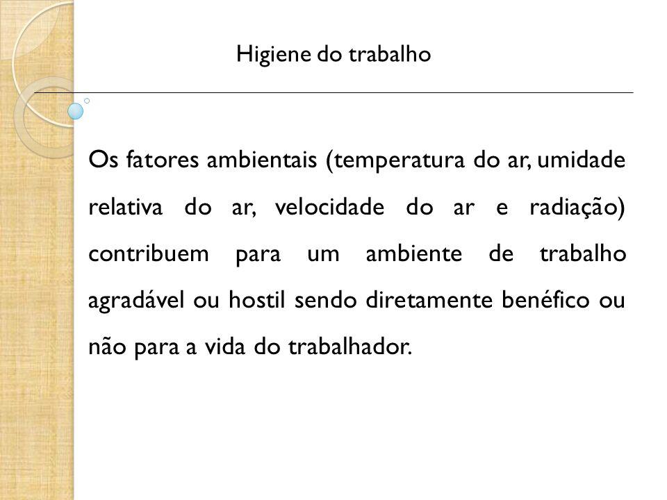 Higiene do trabalho Os fatores ambientais (temperatura do ar, umidade relativa do ar, velocidade do ar e radiação) contribuem para um ambiente de trab