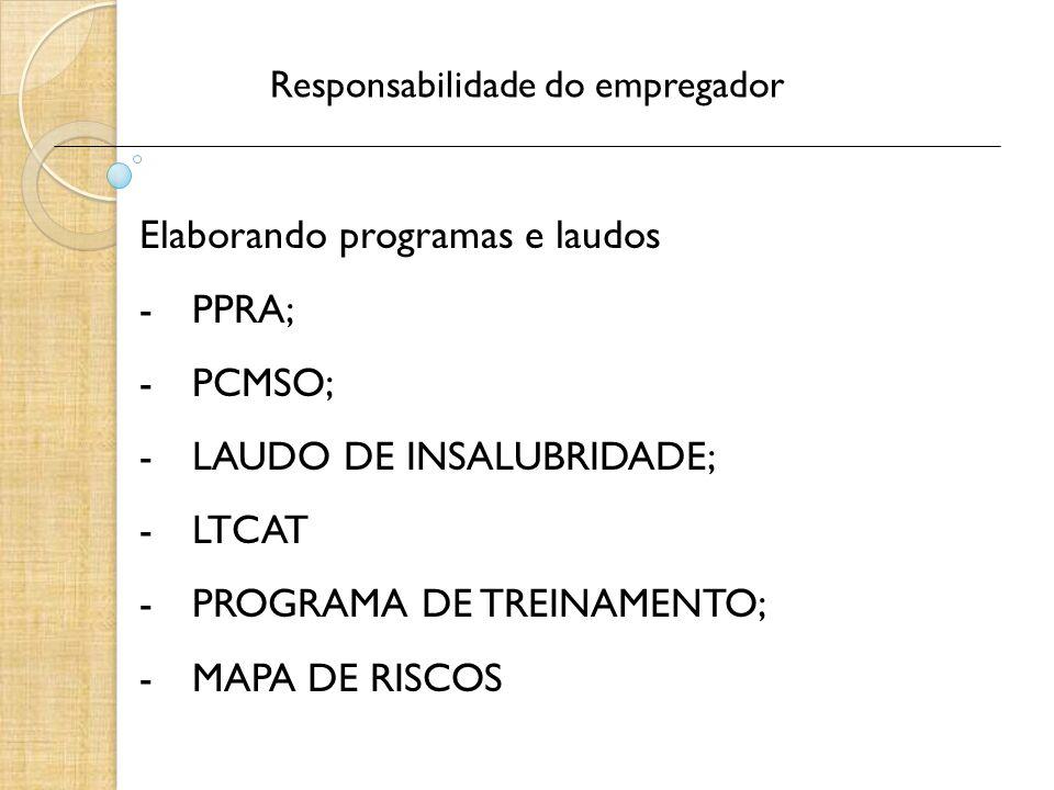 Responsabilidade do empregador Elaborando programas e laudos -PPRA; -PCMSO; -LAUDO DE INSALUBRIDADE; -LTCAT -PROGRAMA DE TREINAMENTO; -MAPA DE RISCOS
