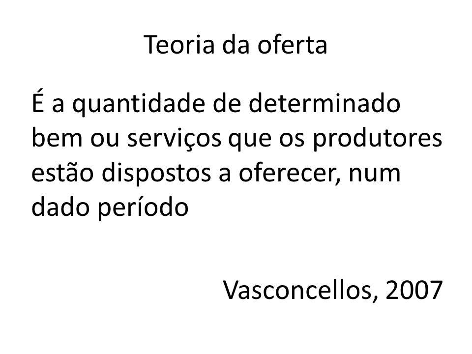 Teoria da oferta É a quantidade de determinado bem ou serviços que os produtores estão dispostos a oferecer, num dado período Vasconcellos, 2007