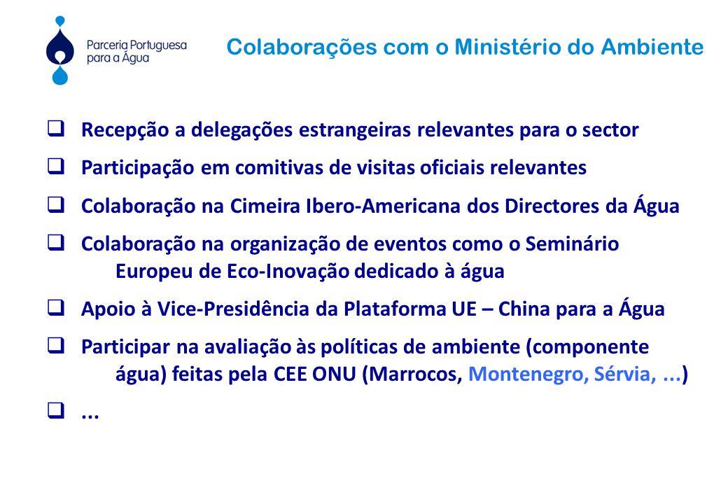  Recepção a delegações estrangeiras relevantes para o sector  Participação em comitivas de visitas oficiais relevantes  Colaboração na Cimeira Ibero-Americana dos Directores da Água  Colaboração na organização de eventos como o Seminário Europeu de Eco-Inovação dedicado à água  Apoio à Vice-Presidência da Plataforma UE – China para a Água  Participar na avaliação às políticas de ambiente (componente água) feitas pela CEE ONU (Marrocos, Montenegro, Sérvia,...) ...