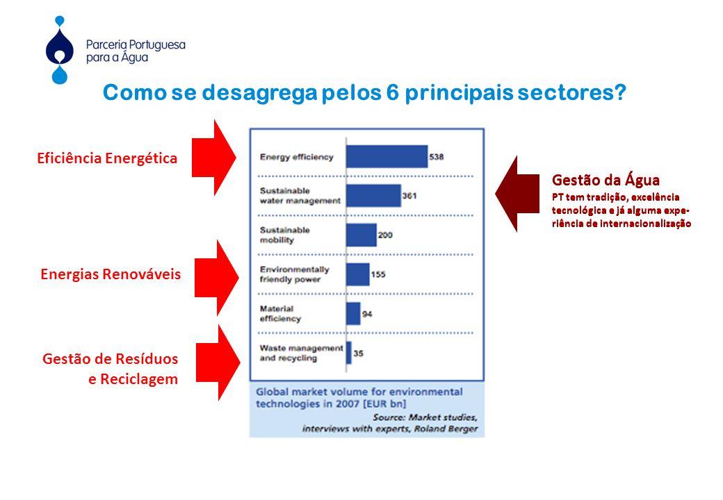 Como se desagrega pelos 6 principais sectores.