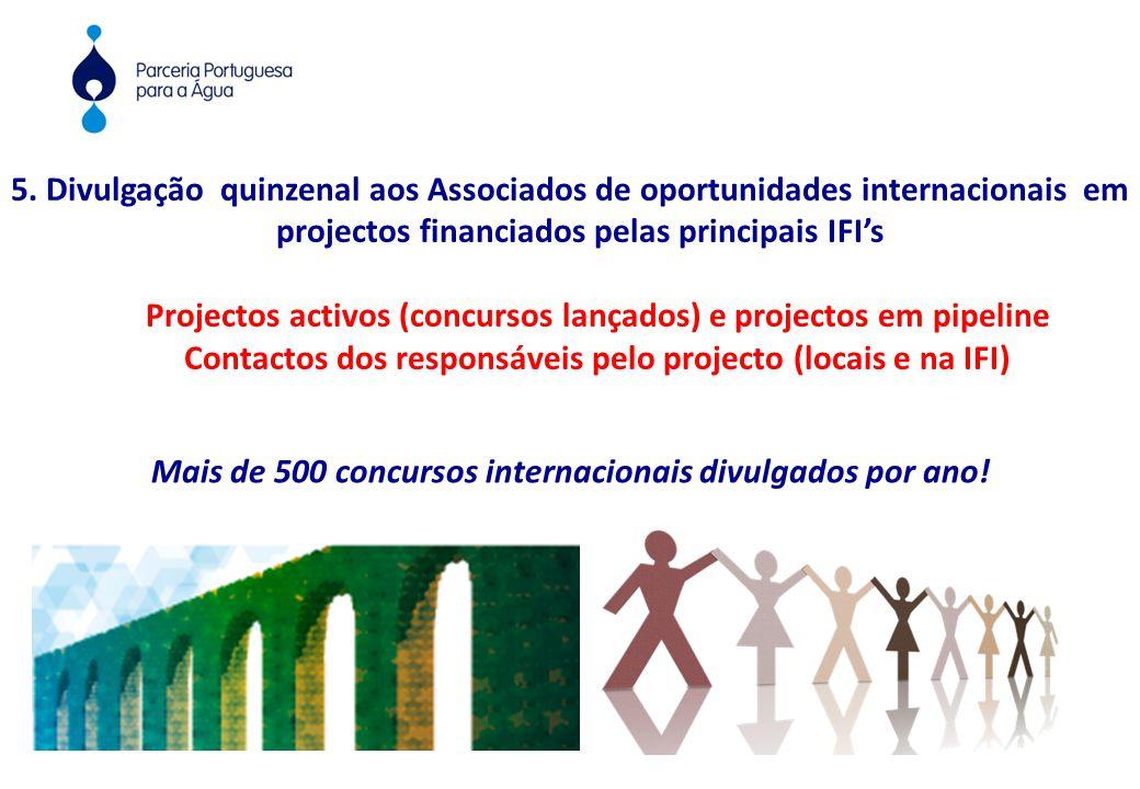 5. Divulgação quinzenal aos Associados de oportunidades internacionais em projectos financiados pelas principais IFI's Projectos activos (concursos la