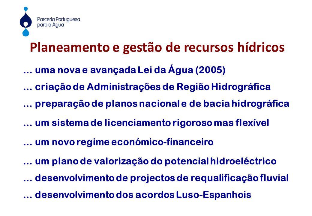 Planeamento e gestão de recursos hídricos … uma nova e avançada Lei da Água (2005) … criação de Administrações de Região Hidrográfica … preparação de planos nacional e de bacia hidrográfica … um sistema de licenciamento rigoroso mas flexível … um novo regime económico-financeiro … um plano de valorização do potencial hidroeléctrico … desenvolvimento de projectos de requalificação fluvial … desenvolvimento dos acordos Luso-Espanhois