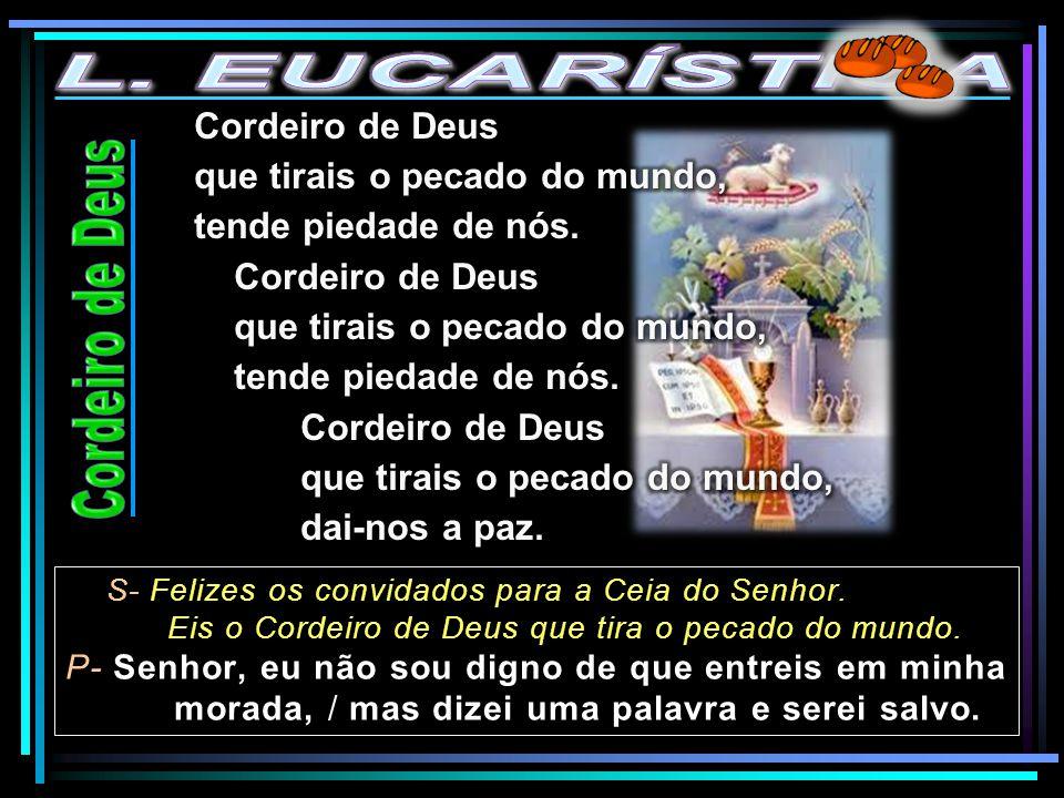 S- Felizes os convidados para a Ceia do Senhor. Eis o Cordeiro de Deus que tira o pecado do mundo. P- Senhor, eu não sou digno de que entreis em minha