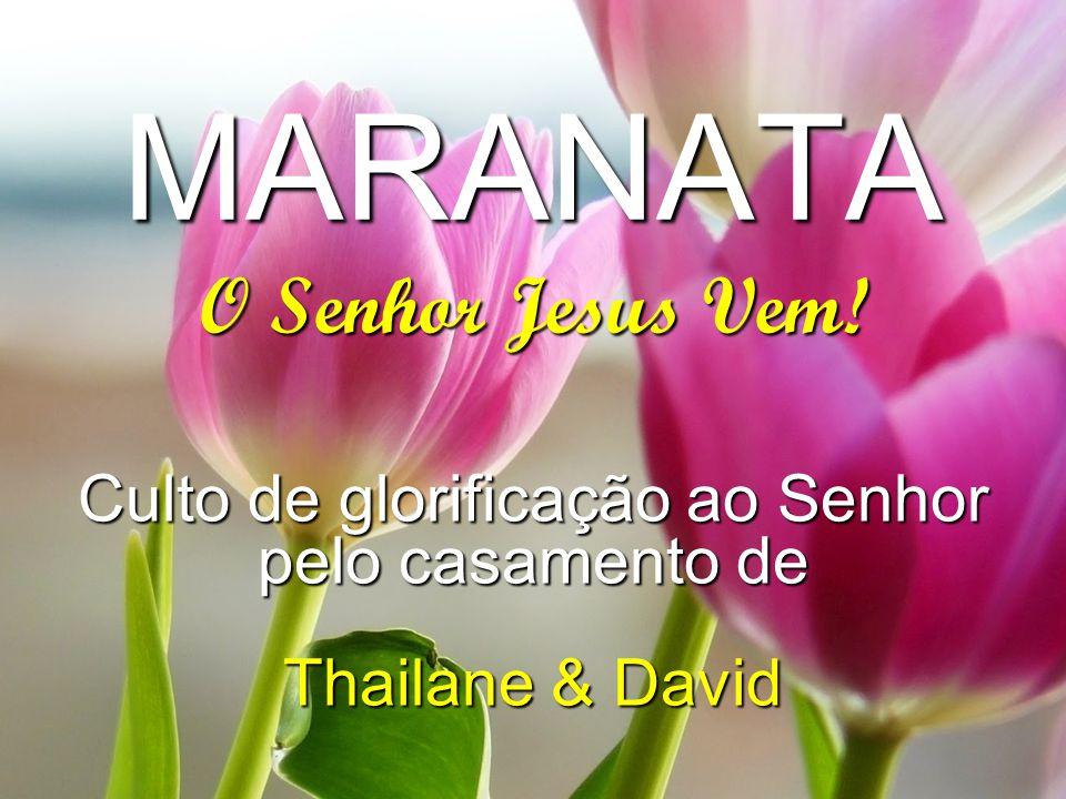 MARANATA Culto de glorificação ao Senhor pelo casamento de Thailane & David O Senhor Jesus Vem! * Os slides pretos utilizei para o louvor do GL e os c