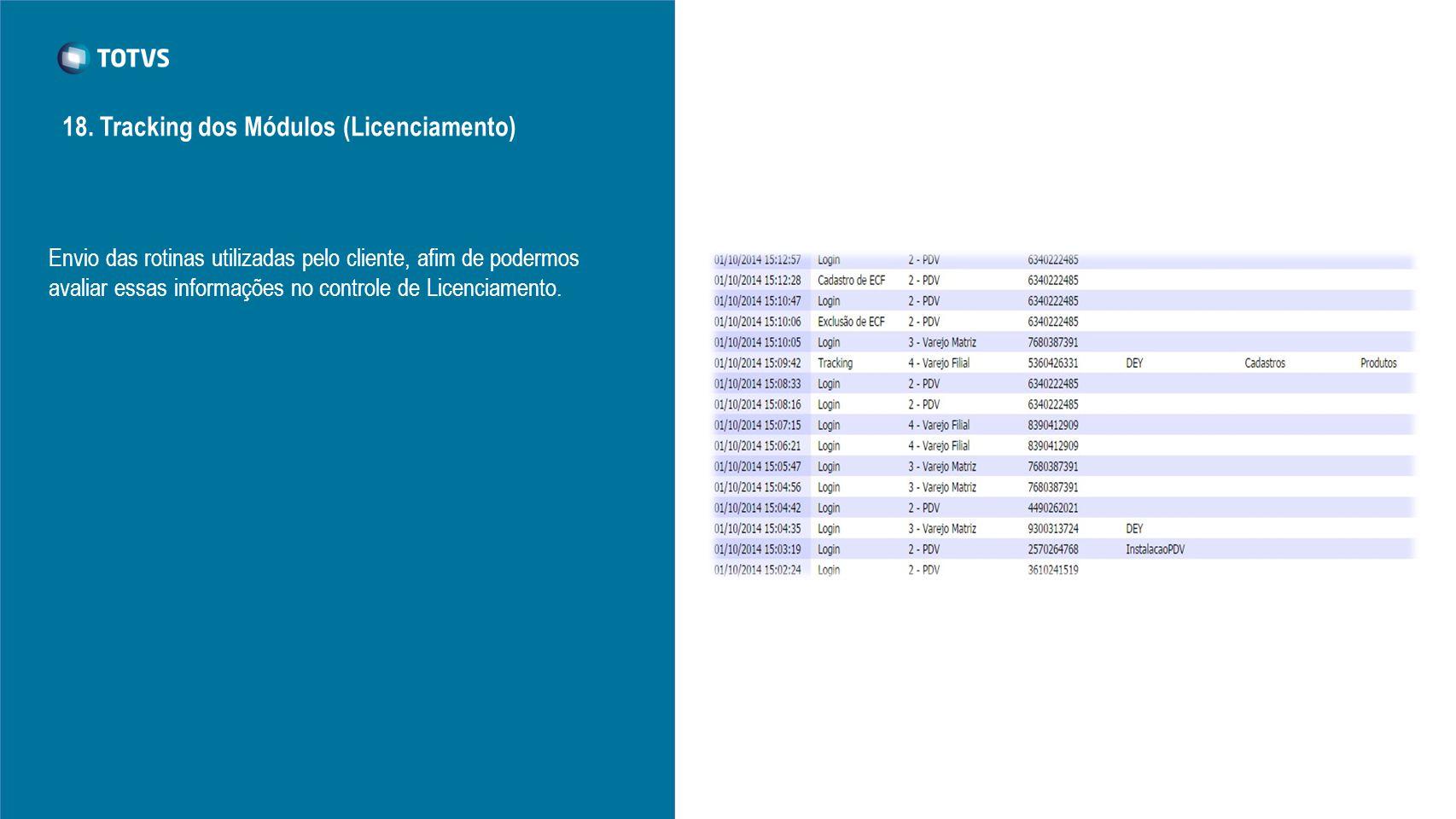 Envio das rotinas utilizadas pelo cliente, afim de podermos avaliar essas informações no controle de Licenciamento. 18. Tracking dos Módulos (Licencia