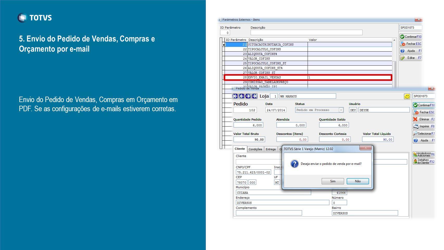 5. Envio do Pedido de Vendas, Compras e Orçamento por e-mail Envio do Pedido de Vendas, Compras em Orçamento em PDF. Se as configurações de e-mails es