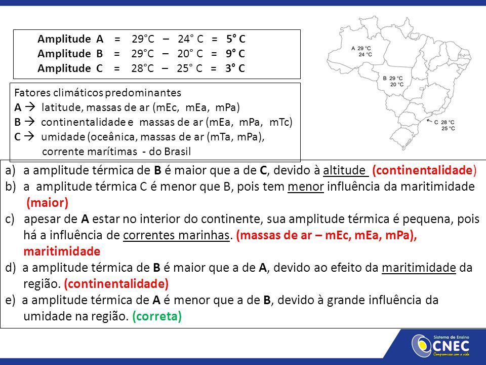 a)a amplitude térmica de B é maior que a de C, devido à altitude (continentalidade) b)a amplitude térmica C é menor que B, pois tem menor influência d