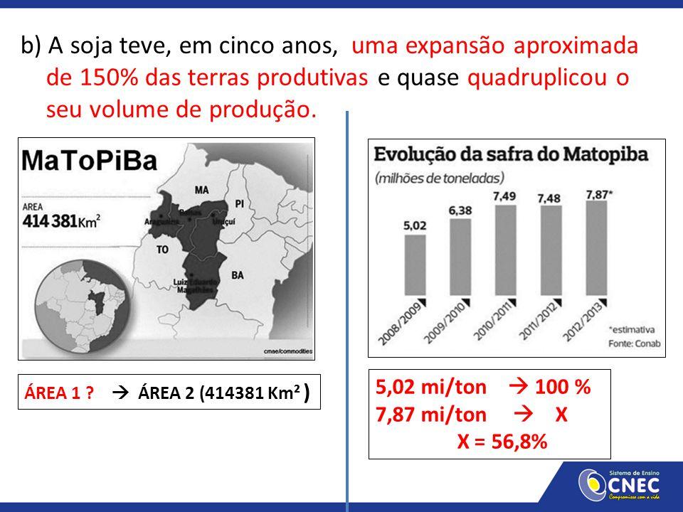 b) A soja teve, em cinco anos, uma expansão aproximada de 150% das terras produtivas e quase quadruplicou o seu volume de produção. ÁREA 1 ?  ÁREA 2