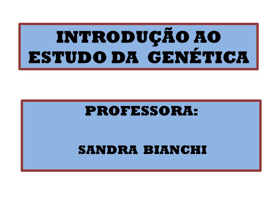INTRODUÇÃO AO ESTUDO DA GENÉTICA PROFESSORA: SANDRA BIANCHI