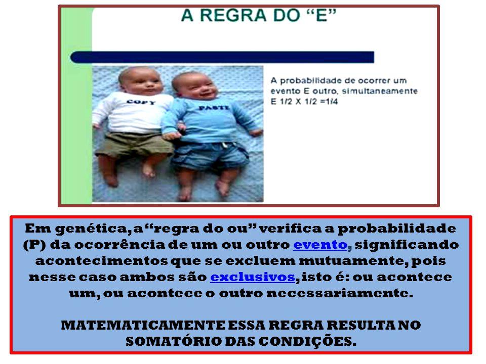 Em genética, a regra do ou verifica a probabilidade (P) da ocorrência de um ou outro evento, significando acontecimentos que se excluem mutuamente, pois nesse caso ambos são exclusivos, isto é: ou acontece um, ou acontece o outro necessariamente.